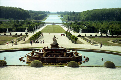The Parterre d'Eau at Chateau de Versailles with the Bassin d'Apollon and gardens in the background. ... June 26, 2001 ... Photo by Rob Page III.