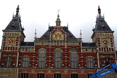 Amsterdam Centraal Station.  It is a stunningly beautiful station.  Unfortunately the city is constructing an adidtional subway line and everything is torn up in front of the station.  I will just have to go back when its all done - Amsterdam, Netherlands ... June 15, 2006 ... Photo by Rob Page III