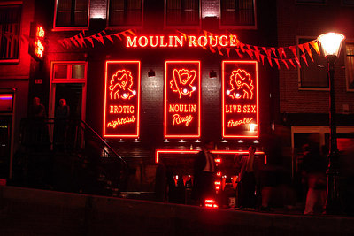 The Amsterdam version of the Moulin Rouge.  It happens to be in the Red Light district - Amsterdam, Netherlands ... June 15, 2006 ... Photo by Rob Page III