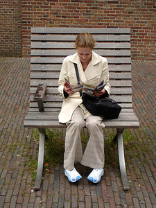 Emily in her extremely oversized bench - Amsterdam, Netherlands ... June 15, 2006 ... Photo by Rob Page III