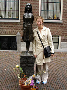 Emily in front of the statue to Anne Frank near Anne Frank's house - Amsterdam, Netherlands ... June 15, 2006 ... Photo by Rob Page III