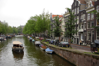 The boats on the canals under Vijzelstraat - Amsterdam, Netherlands ... June 15, 2006 ... Photo by Rob Page III