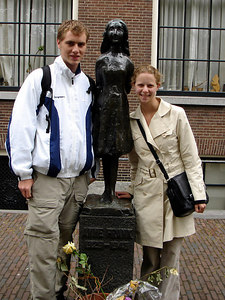 Rob and Emily in front of the statue to Anne Frank near Anne Frank's house - Amsterdam, Netherlands ... June 15, 2006 ... Photo by Unknown