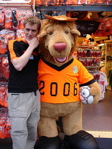 Chilling with the bear - Amsterdam, Netherlands ... June 16, 2006 ... Photo by Emily Conger