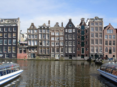 The buidlings that line the Damrak waterway - Amsterdam, Netherlands ... June 16, 2006 ... Photo by Rob Page III