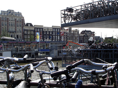 Looking out from the bike parking lot near Centrall Station towards the buildings that line Prins Hendrikkade - Amsterdam, Netherlands ... June 16, 2006 ... Photo by Rob Page III