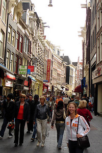 Emily, on the streets of Amsterdam as we look for a bar to watch the Holland-Ivory Coast World Cup game - Amsterdam, Netherlands ... June 16, 2006 ... Photo by Rob Page III