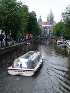 The canals with St. Nicolaaskerk rising above them - Amsterdam, Netherlands ... June 16, 2006 ... Photo by Rob Page III