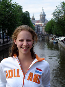 Emily, with St. Nicolaaskerk in the background - Amsterdam, Netherlands ... June 16, 2006 ... Photo by Rob Page III