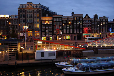 The waterfront of Prins Hendrikkade near Centraal Station - Amsterdam, Netherlands ... June 16, 2006 ... Photo by Rob Page III