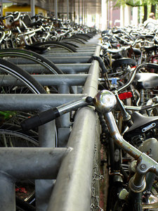 Amsterdam's famous bikes.  This is located to the left of Centraal Station as you look from the Open Havenfront - Amsterdam, Netherlands ... June 16, 2006 ... Photo by Rob Page III