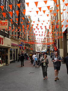 The streets decorated to support Holland in the World Cup - Amsterdam, Netherlands ... June 16, 2006 ... Photo by Rob Page III