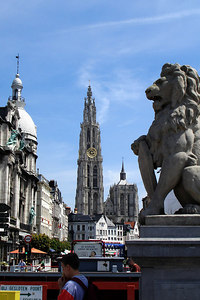 The 123 m tall Onze-Lieve-Vrouwekathedraal (Cathedral of Our Lady) as seen from the Scheldt - Antwerpen, Belgium ... June 18, 2006 ... Photo by Rob Page III