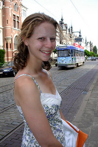 Emily on Cogels-Osylei Street in the Zurenborg District.  This neighborhood is a mixture of different architectures constructed at the end of the 19th Centruy - Antwerpen, Belgium ... June 18, 2006 ... Photo by Rob Page III