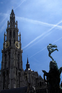 The 123 m tall Onze-Lieve-Vrouwekathedraal (Cathedral of Our Lady)  - Antwerpen, Belgium ... June 18, 2006 ... Photo by Rob Page III