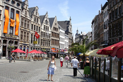 Emily in Grote Markt area of old Antwerpen  - Antwerpen, Belgium ... June 18, 2006 ... Photo by Rob Page III