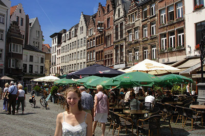 Emily and the buildings of the city - Antwerpen, Belgium ... June 18, 2006 ... Photo by Rob Page III