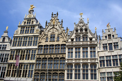 The guild houses that line Grote Markt  - Antwerpen, Belgium ... June 18, 2006 ... Photo by Rob Page III