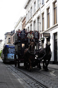 The horses are holding up traffic - Antwerpen, Belgium ... June 18, 2006 ... Photo by Rob Page III