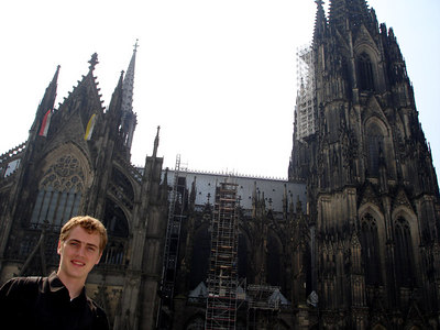 Rob in front of the 157 m Cologne Cathedral - Cologne, Germany ... June 14, 2006 ... Photo by Emily Conger
