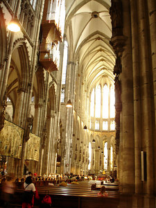 Inside the Cologne Cathedral.  This cathedral is the icon of the city as it rises 157m above the Rhine. - Cologne, Germany ... June 14, 2006 ... Photo by Rob Page III