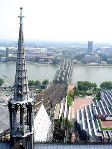 The view from the top of one of Cologne Cathedral's spires.  The reward for climbing over 500 stairs was the sight of the Rhine - Cologne, Germany ... June 14, 2006 ... Photo by Rob Page III
