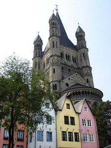 Some of the bright buildings of the aldstat with St. Martin Chapel rising above - Cologne, Germany ... June 14, 2006 ... Photo by Rob Page III