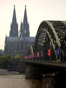 Cologne's iconic shot.  Across the Rhine looking at its world famous cathedral - Cologne, Germany ... June 14, 2006 ... Photo by Rob Page III