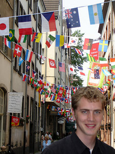 Rob with aldstat all decorated for the World Cup - Cologne, Germany ... June 14, 2006 ... Photo by Emily Conger