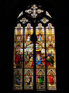 Some of the intricate stain glass inside the Cologne Cathedral.  Zoom in to examine the details - Cologne, Germany ... June 14, 2006 ... Photo by Rob Page III