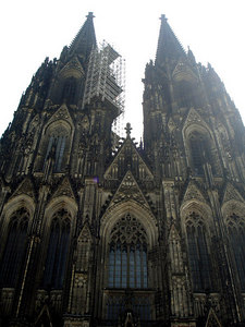 The Cologne Cathedral.  It rises 157 meters above the city and was the tallest structure in the world upon its 1880 completion (The Washington monument took this distinction away a few years later).  Now it is considered a World Heritage Site, but is constantly being repaired by the Dombauhütte - Cologne, Germany ... June 14, 2006 ... Photo by Rob Page III