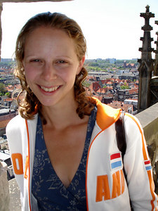 Emily and the old town of Delft from the Nieuwe Kerk.  The streets are laced with canals and it is known for its pottery - Delft, Netherlands ... June 17, 2006 ... Photo by Rob Page III