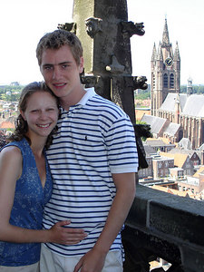 Rob and Emily on the Nieuwe Kerk with the Oude Kerk in the background - Delft, Netherlands ... June 17, 2006 ... Photo by Unknown