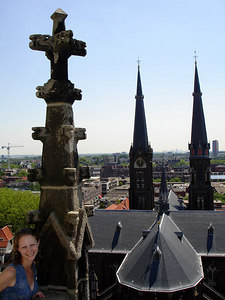 Spires rise from a shurch next to the Nieuwe Kerk - Delft, Netherlands ... June 17, 2006 ... Photo by Rob Page III