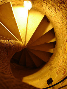 The spiral staircase that goes up for hundreds of steps inside the Nieuwe Kerk - Delft, Netherlands ... June 17, 2006 ... Photo by Rob Page III