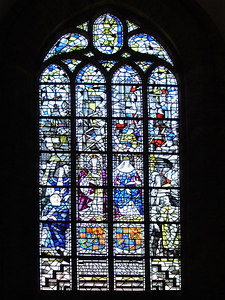 The stain glass of the Nieuwe Kerk - Delft, Netherlands ... June 17, 2006 ... Photo by Rob Page III