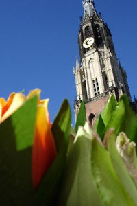 The Niewe Kerk with some flowers in the foreground - Delft, Netherlands ... June 17, 2006 ... Photo by Rob Page III