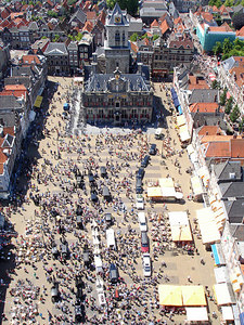 Everyone gathered on the market plaza to look at the hearses - Delft, Netherlands ... June 17, 2006 ... Photo by Rob Page III