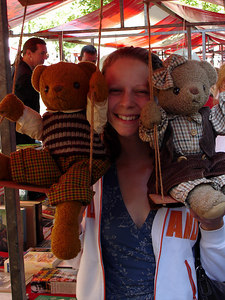 Emily, enjoying some teddy bears - Delft, Netherlands ... June 17, 2006 ... Photo by Rob Page III