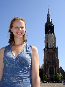 Emily and the Nieuwe Kerk - Delft, Netherlands ... June 17, 2006 ... Photo by Rob Page III