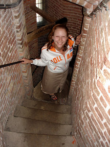 Emily, playing in the staircase of the Nieuwe Kerk - Delft, Netherlands ... June 17, 2006 ... Photo by Rob Page III
