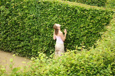 Emily can't find her way through the Drielandenpunt Labyrinth - Vaals, Netherlands ... June 19, 2006 ... Photo by Rob Page III