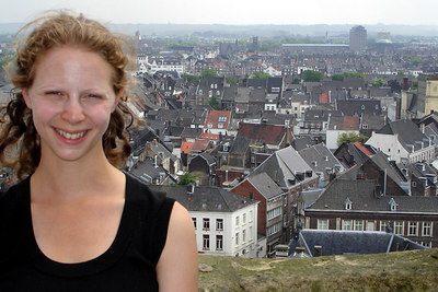 Emily on top of Sint Jan Kerk with the town in the background - Maastricht, Netherlands ... June 19, 2006 ... Photo by Emily Conger