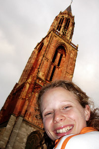 Emily in front of St. John Church - Maastricht, Netherlands ... June 19, 2006 ... Photo by Rob Page III