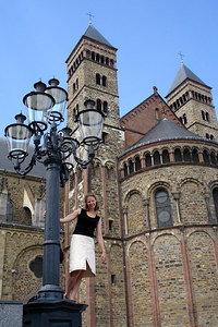 Emily in front of the Basilica of Saint Servatius - Maastricht, Netherlands ... June 19, 2006 ... Photo by Rob Page III
