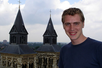 Rob on top of Saint John Church with the Basilica of Saint Servatius in the background - Maastricht, Netherlands ... June 19, 2006 ... Photo by Emily Conger
