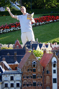 Rob, preaching to the town of Madurodam.  This is a city with detailed miniatures of major landmarks in Holland.  It also makes mortals look like GIANTS - Den Haag, Netherlands ... June 17, 2006 ... Photo by Rob Page III