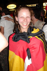 Emily celebrating after the Germany-Poland World Cup game - Dortmund, Germany ... June 14, 2006 ... Photo by Rob Page III