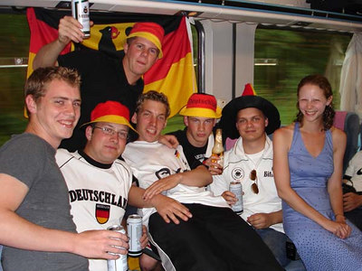 Taking in the Germany-Poland World Cup game with our new found friends. - Dortmund, Germany ... June 14, 2006 ... Photo by Rob Page III