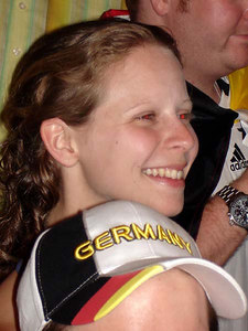 Emily enjoying the Germany-Poland World Cup game - Dortmund, Germany ... June 14, 2006 ... Photo by Rob Page III